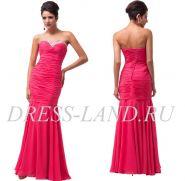 Ярко-красное вечернее платье-футляр на шнуровке