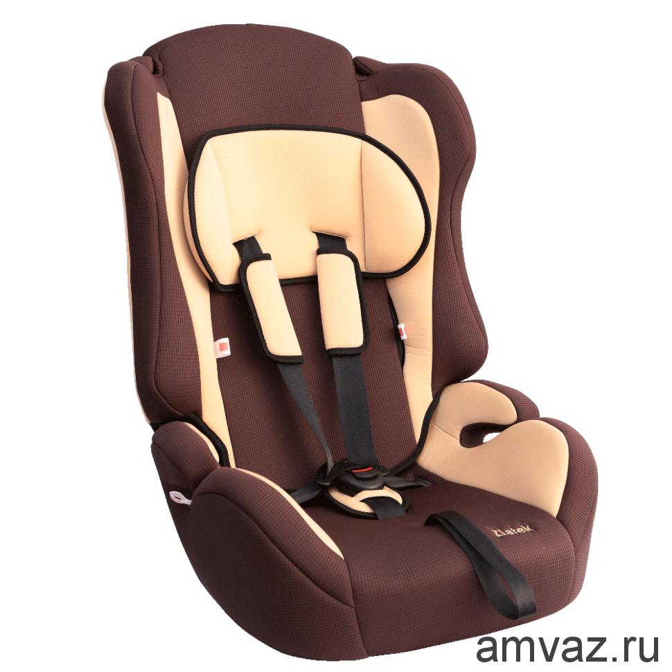 """Детское автомобильное кресло Zlatek - """"Atlantic"""" коричневый, группа  1/2/3"""
