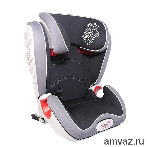"""Детское автомобильное кресло SIGER """"Олимп FIX"""" черный, 3-12 лет, 15-36 кг, группа 2/3 (2 шт)"""