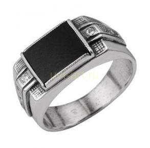 Посеребренное мужское кольцо с ониксом (покрытие оксидировано). Арт. 788006
