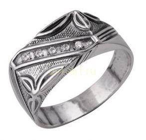 Стильное мужское кольцо с черненым серебряным покрытием, гравировкой и цирконами (арт. 788007)