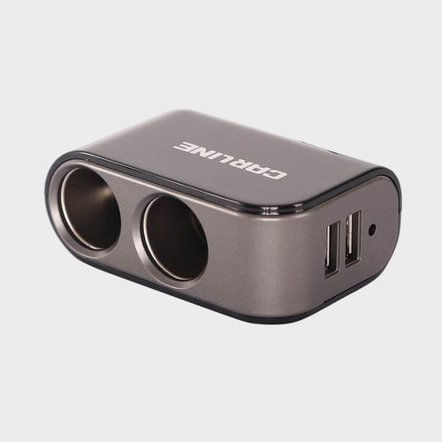 Разветвитель прикуривателя CS-221B mini на 2 гнезда на 5А  и 2 USB на проводе, цвет черный