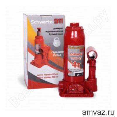 Гидравлический бутылочный домкрат SCHWARTZ-911 4 т (195-380 мм), картонная коробка