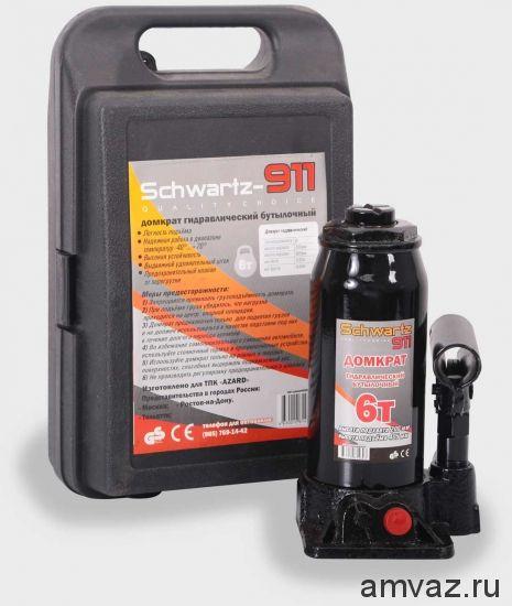 Гидравлический бутылочный домкрат SCHWARTZ-911 6 т (200-405 мм), пластиковый кейс