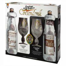 Набор пивной Corsendonk (Agnus Tripel 0.75 + Pater Dubbel 0.75 + два бокала) в подарочной упаковке