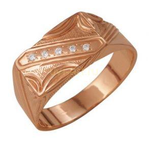 Позолоченное кольцо-печатка с флористической гравировкой и цирконами (арт. 788009)