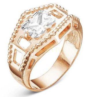 Позолоченное кольцо с фианитом (арт. 788014)