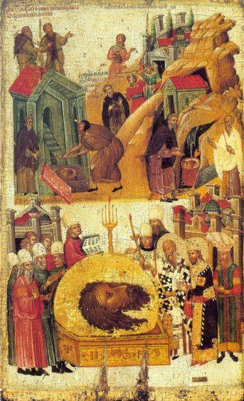 Икона Обретение Главы Иоанна Предтечи (копия 14 века)