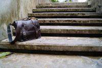 BUFALO LB02 BROWN коричневый кожаный портфель