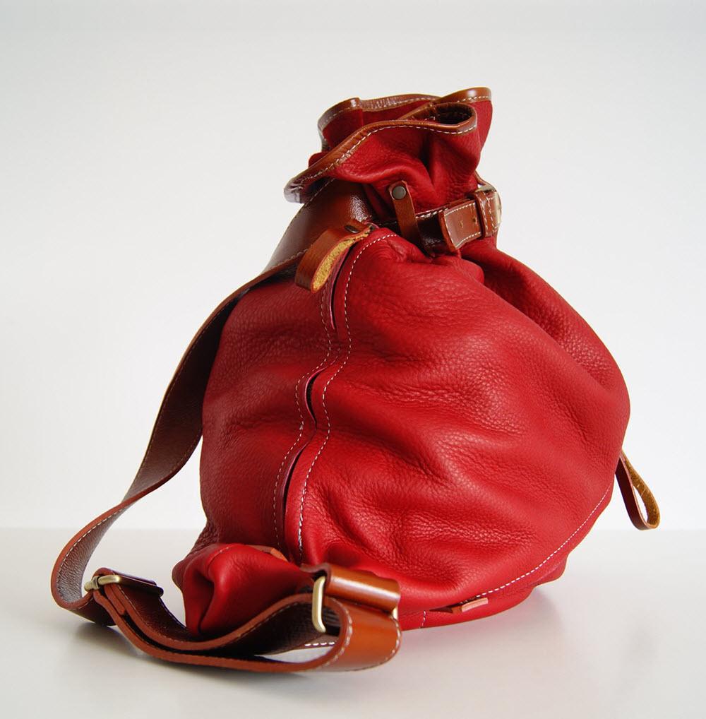 BUFALO BP03 RED красный кожаный рюкзак-мешок
