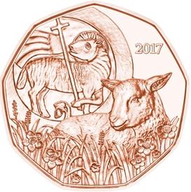 Пасхальный Агнец 5 евро Австрия 2017