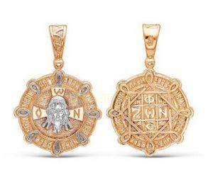 Православная позолоченная подвеска с образом Христа (комбинированное золото) (арт. 788022)