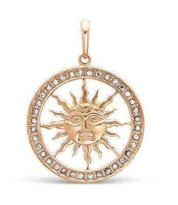 """Позолоченная подвеска """"Солнце"""" с цирконами (арт. 788023)"""