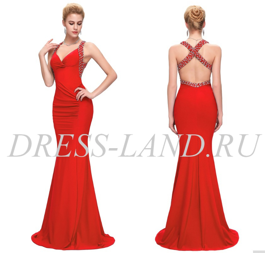 b37b447a092 Красное вечернее платье с открытой спиной