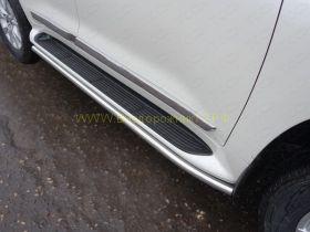 Защита штатных порогов 50 мм  для Toyota Land Cruiser 200 2015 -