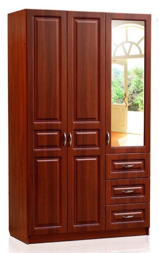 Шкаф 3-х створчатый (2 двери глухие, 1 зеркальная, 3 ящика)  Модуль 07, Визит