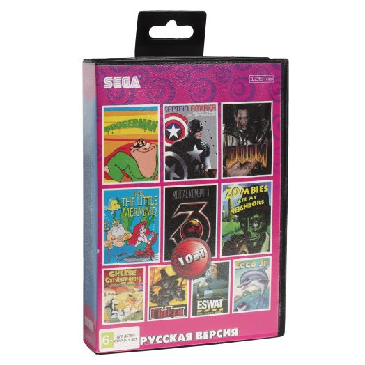 Sega картридж 10в1 (AA-10004) BOOGERMAN/DOOM TROOPERS/ECCO JR+..