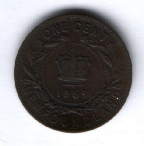 1 цент 1865 г. Ньюфаундленд