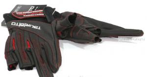Перчатки рыболовные TSURIBITO кож.зам. LFG-110, цвет черный с белым (3 открытых пальца)