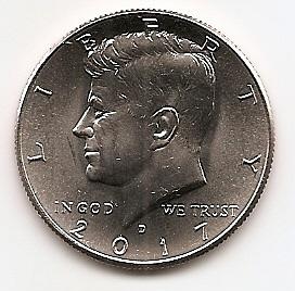 Джон Кеннеди 50 центов США 2017 Монетный двор на выбор