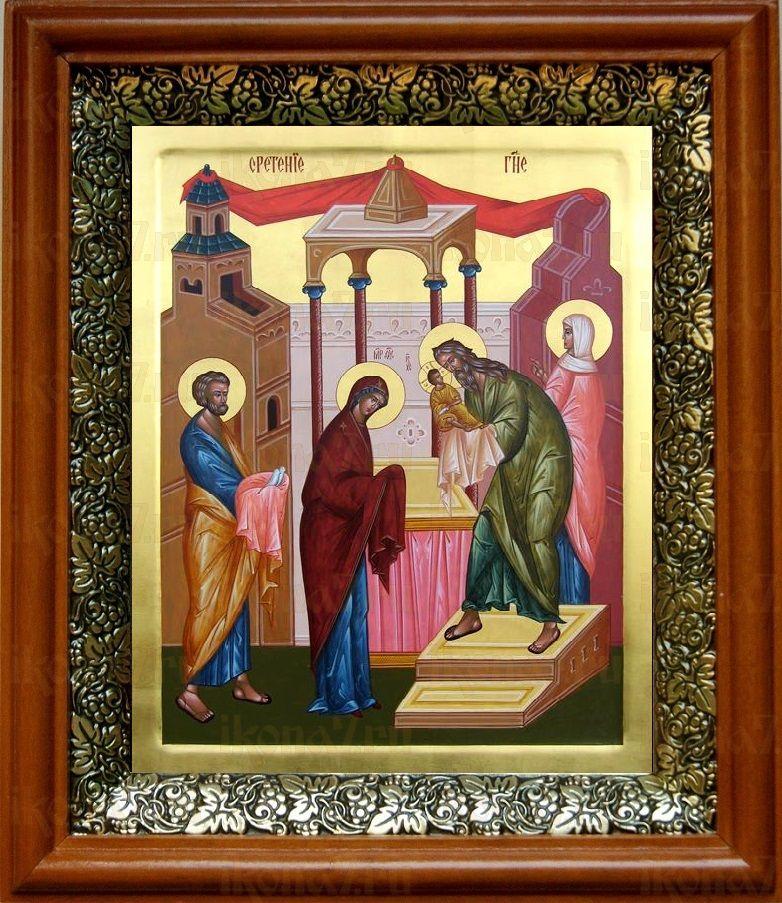 Сретение Господне (19х22), светлый киот