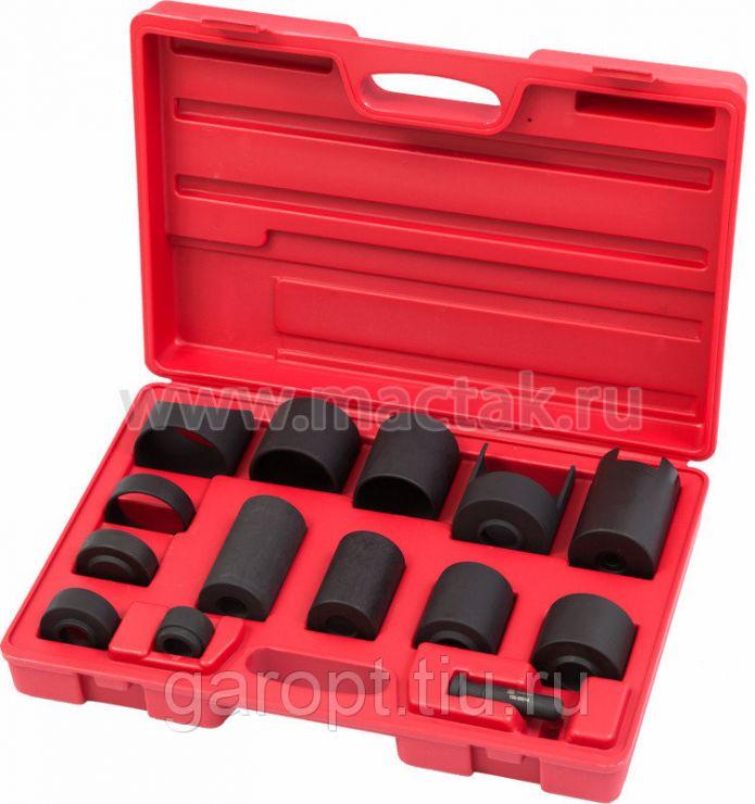 Набор оправок для монтажа и демонтажа сайлентблоков, кейс, 14 предметов МАСТАК 100-56014C