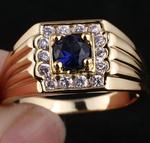 Позолоченное мужское кольцо с искусственным сапфиром (арт. 260571)