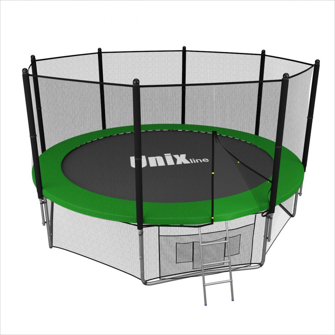 Батут с внешней защитной сеткой - Unix Line 12FT (3,66м), цвет зеленый