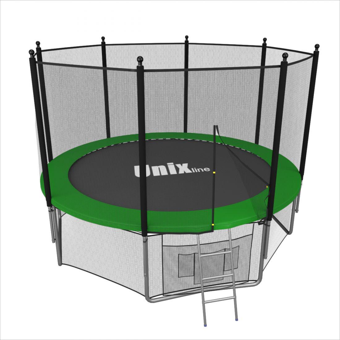 Батут с внешней защитной сеткой - Unix Line 6FT (1,82м), цвет зеленый
