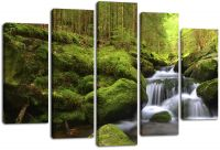 Модульная картина Река в лесу