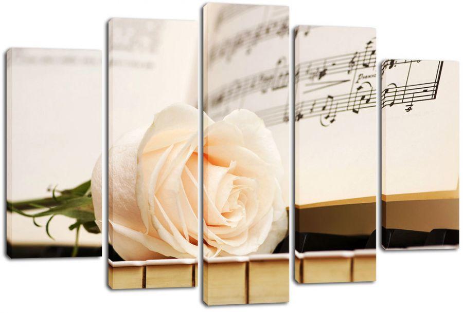 Модульная картина Белая роза и ноты