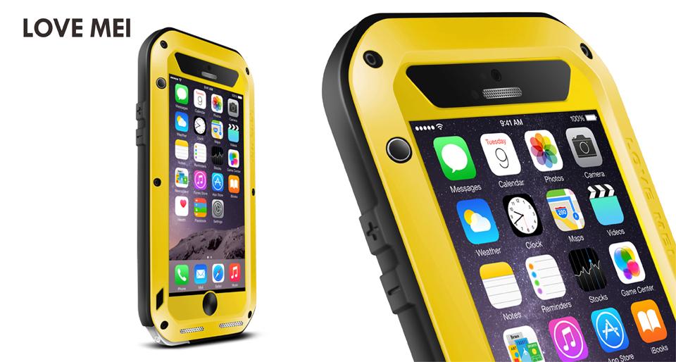 Антивандальный чехол LOVE MEI POWERFUL для Apple iPhone 6 Plus (желтый)