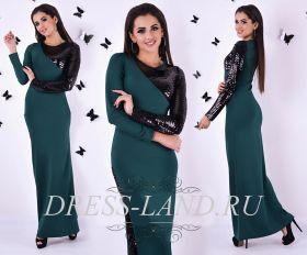 Зеленое платье в пол с длинными рукавами