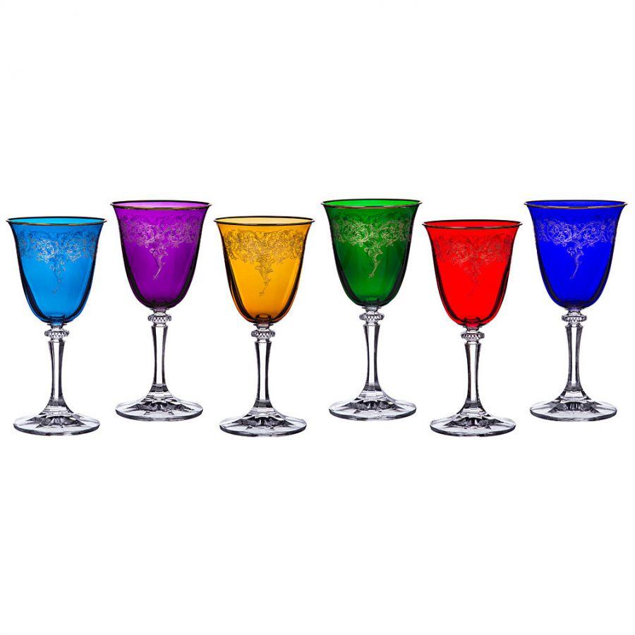 """Набор бокалов для вина """"Клеопатра микс"""" 250 мл, h=18 см, 6 шт."""