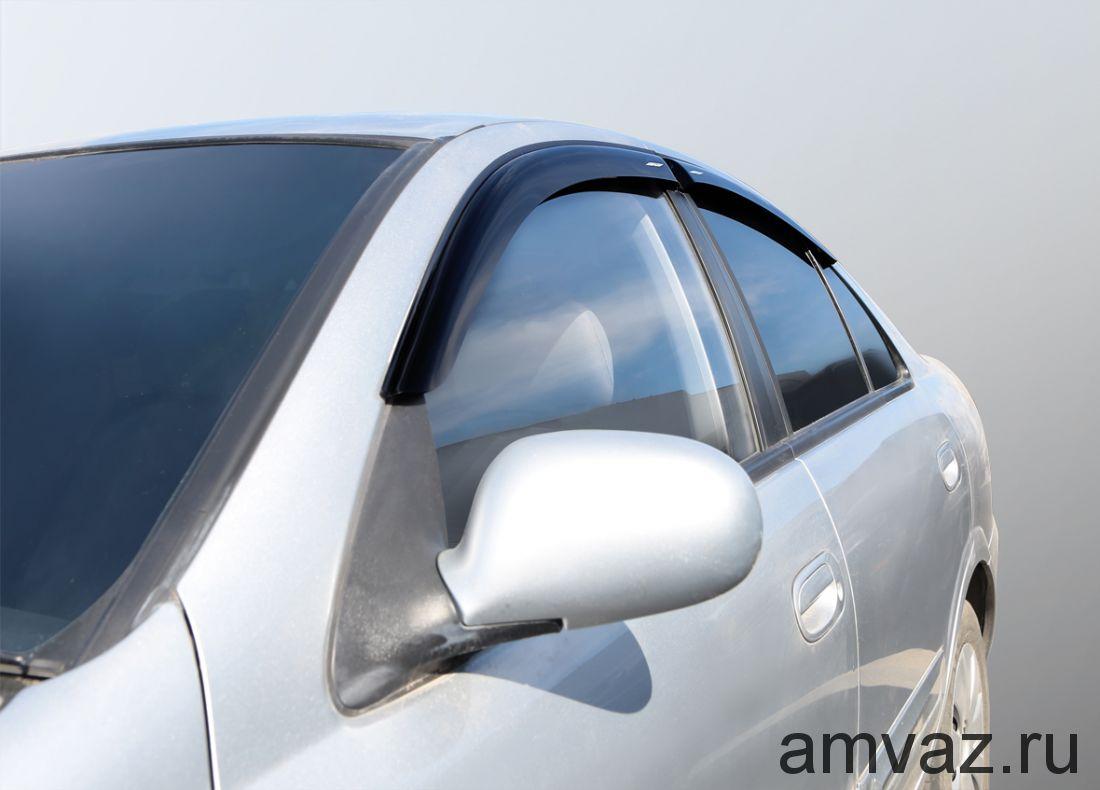Дефлекторы неломающиеся на боковые стекла VORON GLASS серия Samurai Nissan Almera 2012 - н.в. /седан/накладные/скотч/к-т 4шт./