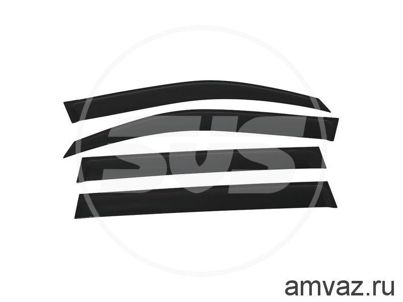Дефлекторы неломающиеся на боковые стекла VORON GLASS серия Samurai NISSAN QASHQAI 2007-2014 /накладные/ скотч /к-т 4 шт./
