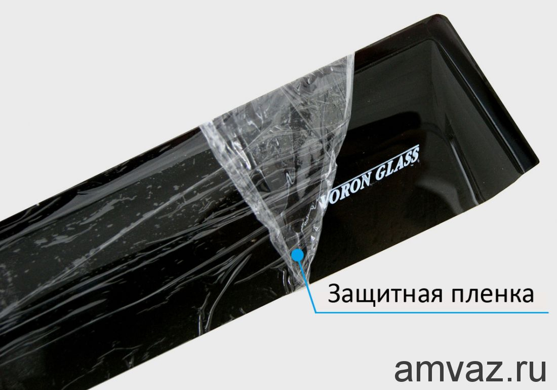 Дефлекторы неломающиеся на боковые стекла VORON GLASS серия Samurai NISSAN TIIDA 2004-2014 /СЕДАН/накладные/ скотч /к-т 4 шт./