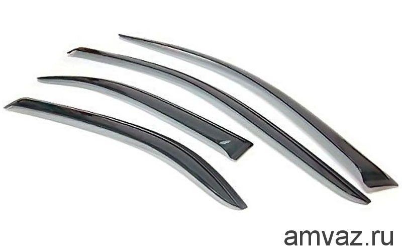 Дефлекторы на боковые стекла VORON GLASS серия CORSAR Chevrolet Aveo II  2010-15./хетчбек/накладные/скотч/к-т 4шт./