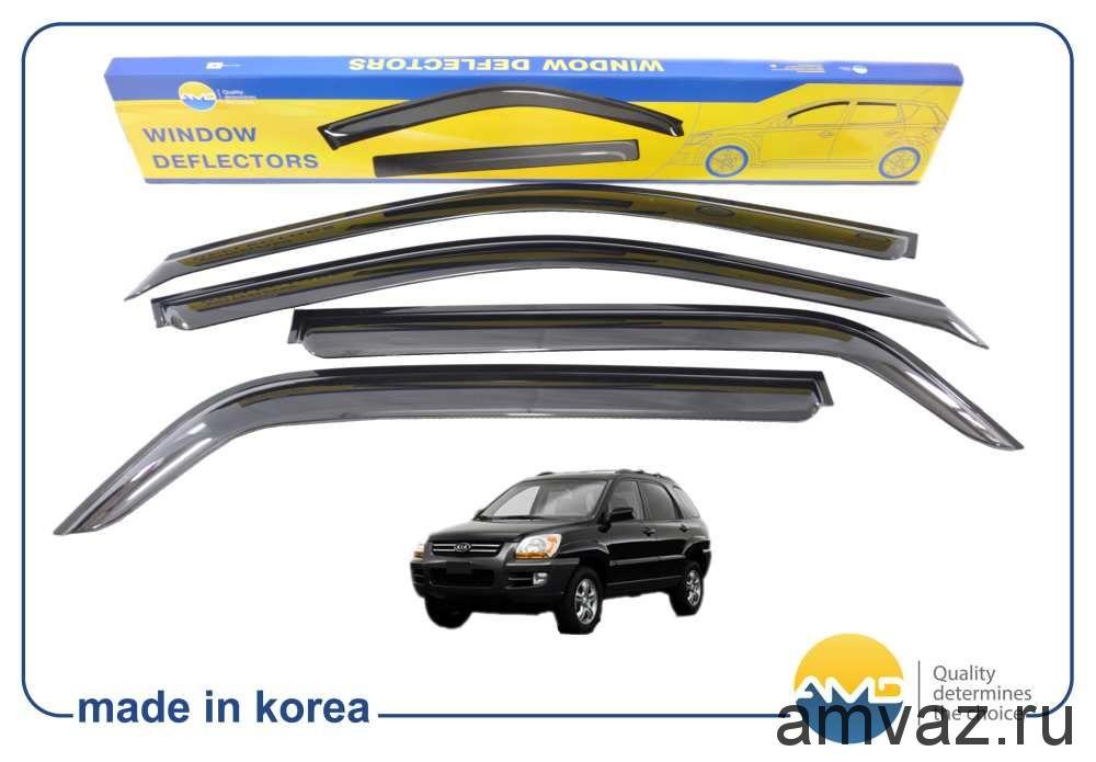 Дефлекторы на боковые стекла Voron Glass серия CORSAR Kia Sportage II 2004-2010/кроссовер/накладные/скотч/к-т 4шт./