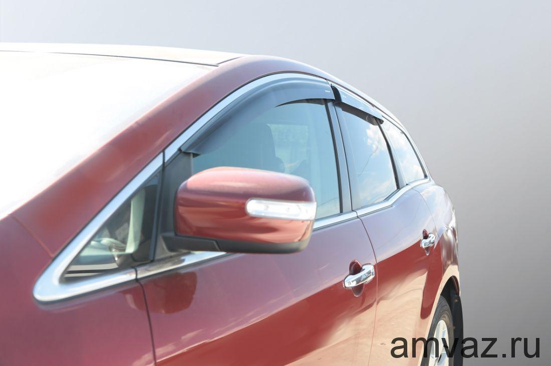 Дефлекторы на боковые стекла Voron Glass серия CORSAR Mazda CX-7 2006-2012/кроссовер/накладные/скотч/к-т 4 шт./