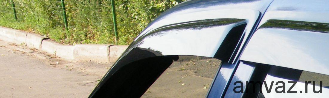 Дефлекторы на боковые стекла Voron Glass серия CORSAR Mitsubishi L200 IV 2007-н.в. /пикап/накладные/ скотч /к-т 4 шт./