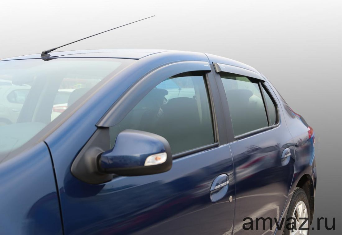Дефлекторы на боковые стекла Voron Glass серия CORSAR Renault Logan II 2014-н.в./седан/накладные/скотч /к-т 4 шт./