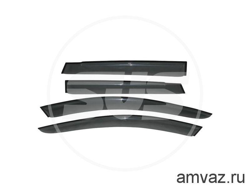 Дефлекторы на боковые стекла Voron Glass серия CORSAR Volkswagen Amarok 2010-н.в. /пикап/накладные/скотч/к-т 4шт./