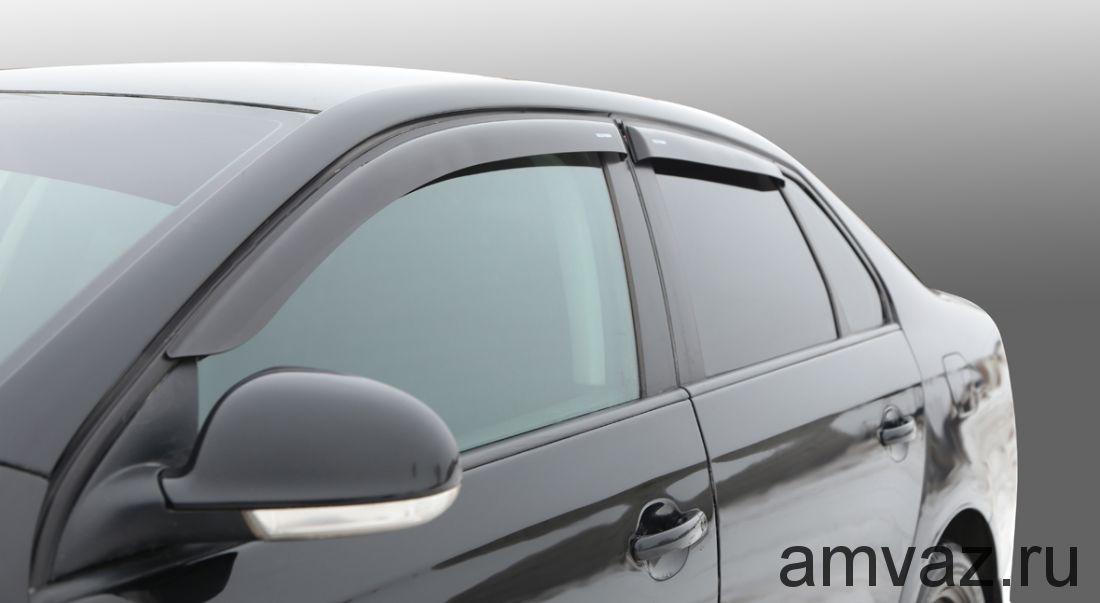 Дефлекторы на боковые стекла Voron Glass серия CORSAR Volkswagen Bora 1998-2005/Jetta IV 1999-2005 /седан/накладные/скотч/к-т 4шт./