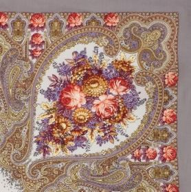 Платок павлопосадский 125*125 см Осенние кружева [02]