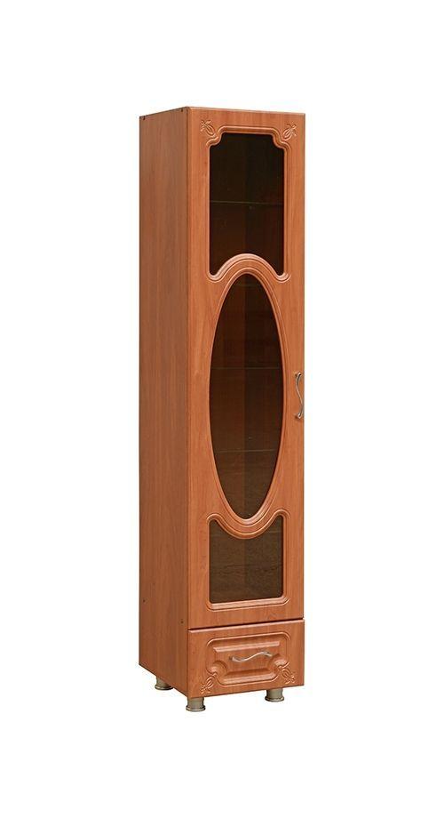 Шкаф  1 стеклянная дверь, стеклополки и 1 ящик (к гостиной Глория-10)  модуль 04 правый   МДФ глянец