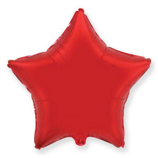Звезда красная шар фольгированный с гелием