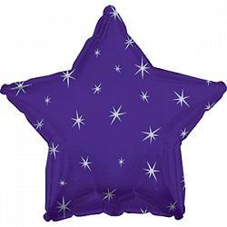 Звезда с искорками фиолетовая шар фольгированный с гелием