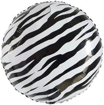 Круг Зебра чёрно-белый шар фольгированный с гелием