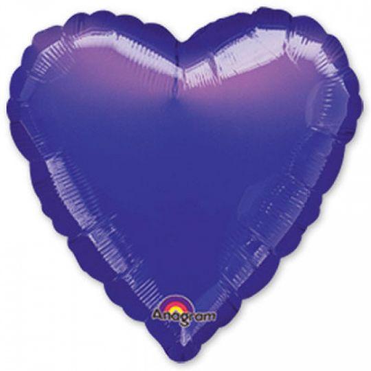 Сердце фиолетовое шар фольгированный с гелием